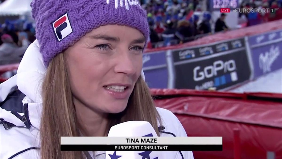Tina Maze im Einsatz für Eurosport