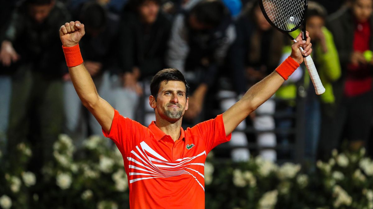 Novak Djokovic of Serbia celebrates to the crowd after his three set victory against Diego Schwartzman of Argentina in their semifinal match during day seven of the International BNL d'Italia at Foro Italico on May 18, 2019 in Rome, Italy