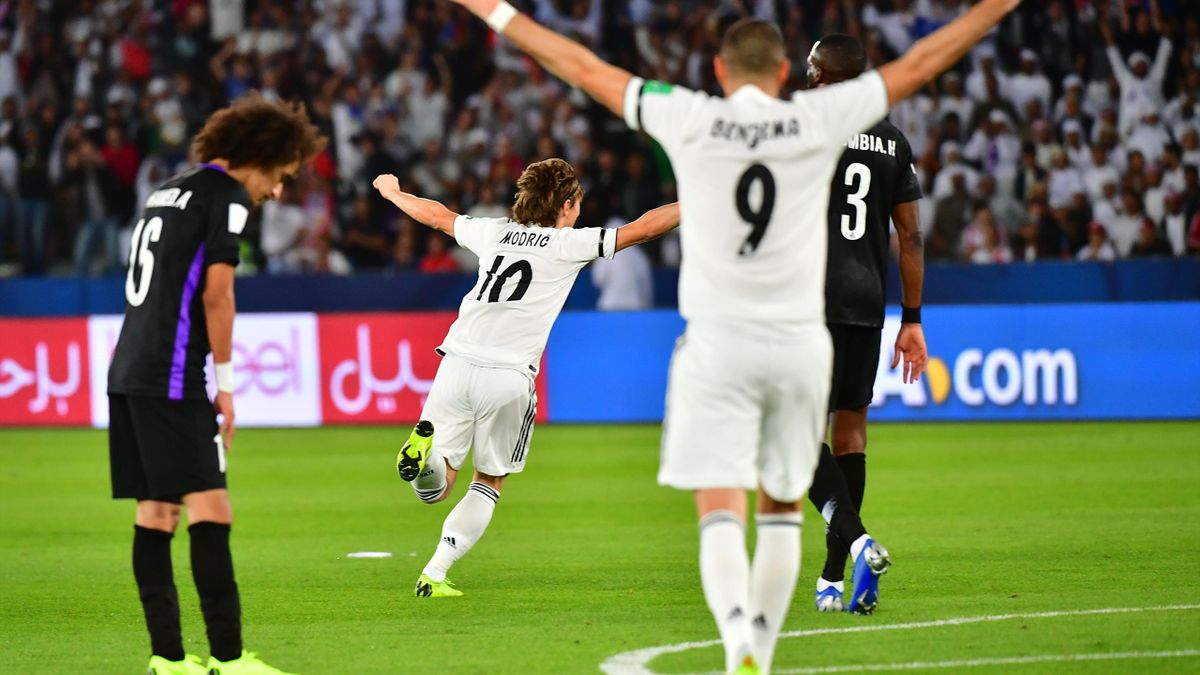 Luka Modric celebrates his goal for Real Madrid in the Club World Cup final against Al-Ain
