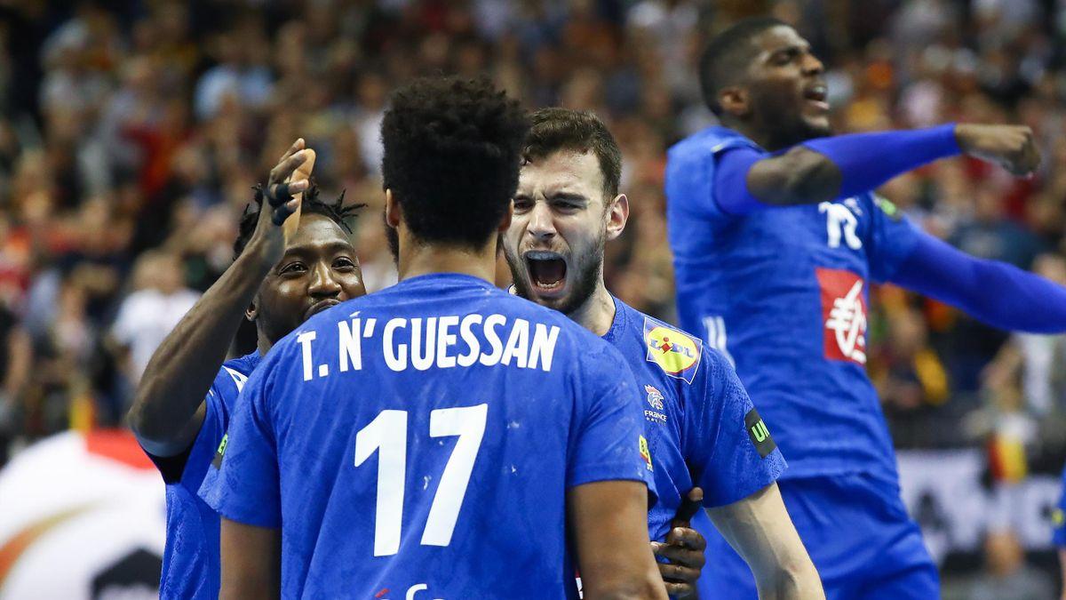 Timothey N'Guessan a inscrit le but égalisateur à la dernière seconde de Allemagne-France, aux Mondiaux, le 15 janvier 2019.