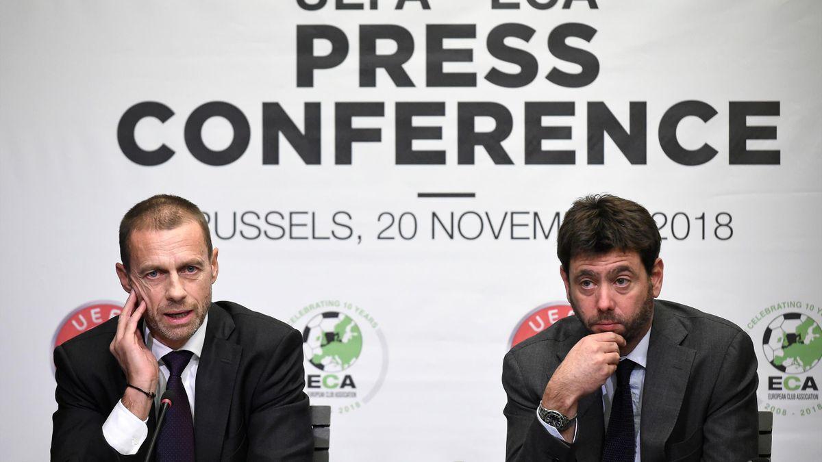 UEFA-Präsident Aleksander Ceferin (l.) und Juventus-Präsident Andrea Agnelli