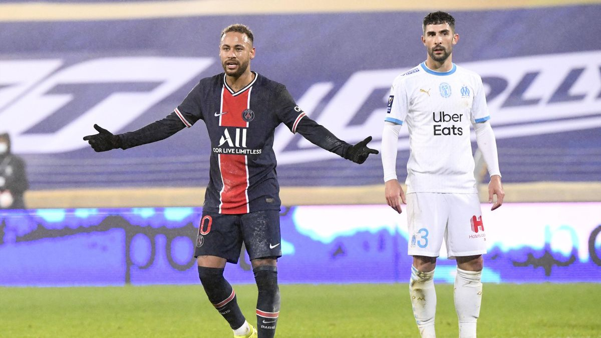 Neymar (PSG) und Alvaro Gonzalez (Olympique Marseille)
