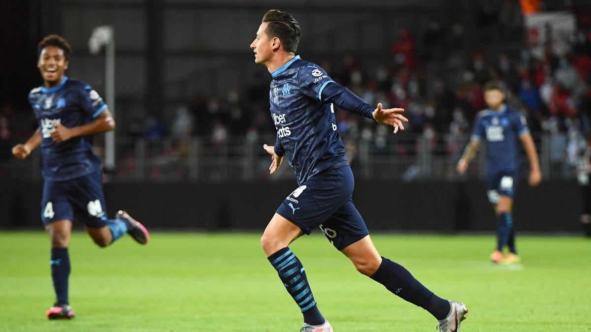 Florian Thauvin fête son but lors de Brest - Marseille, le 30 août 2020, en Ligue 1