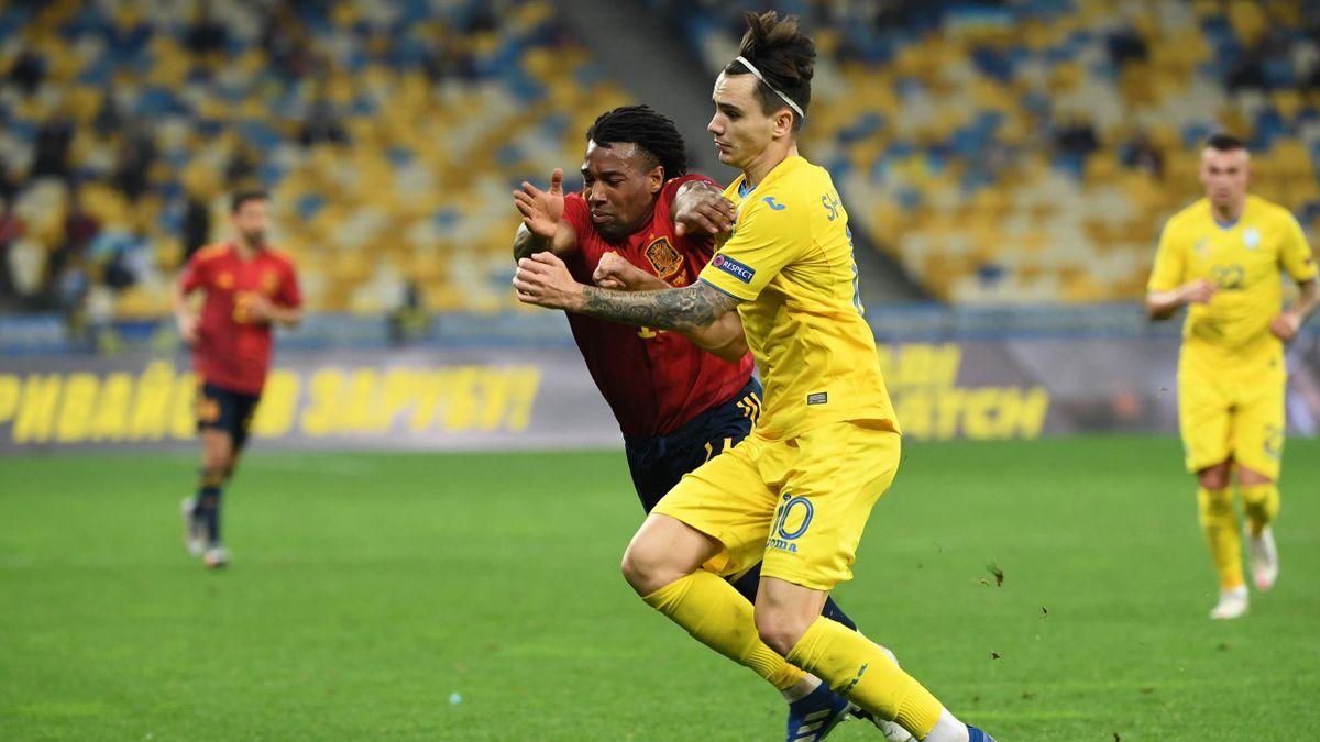 Adama Traoré, très remuant avec l'Espagne face à l'Ukraine, le 13 octobre 2020 à Kiev