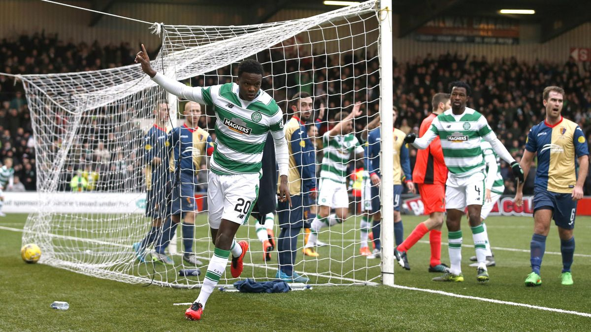 Dedryck Boyata celebrates after Leigh Griffiths scored the first goal for Celti