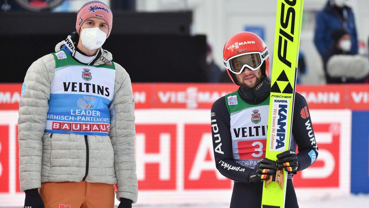 Karl Geiger (l.) und Markus Eisenbichler bei der Vierschanzentournee 2020/21