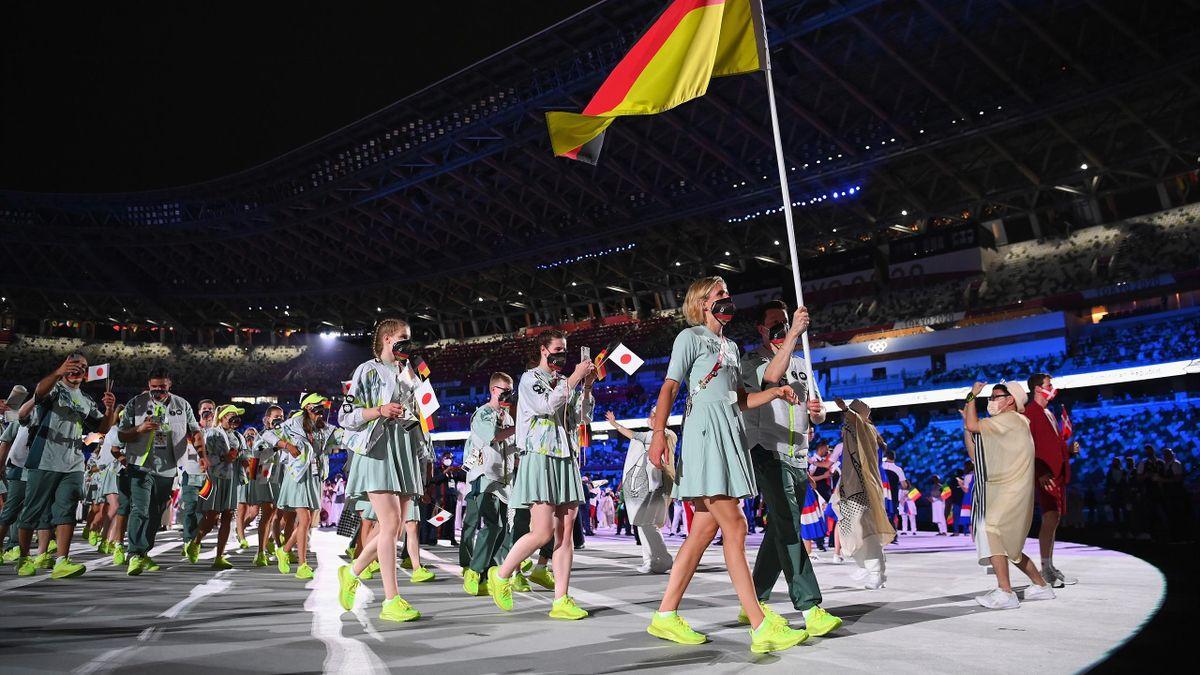 Das deutsche Team bei der Eröffnungsfeier in Tokio