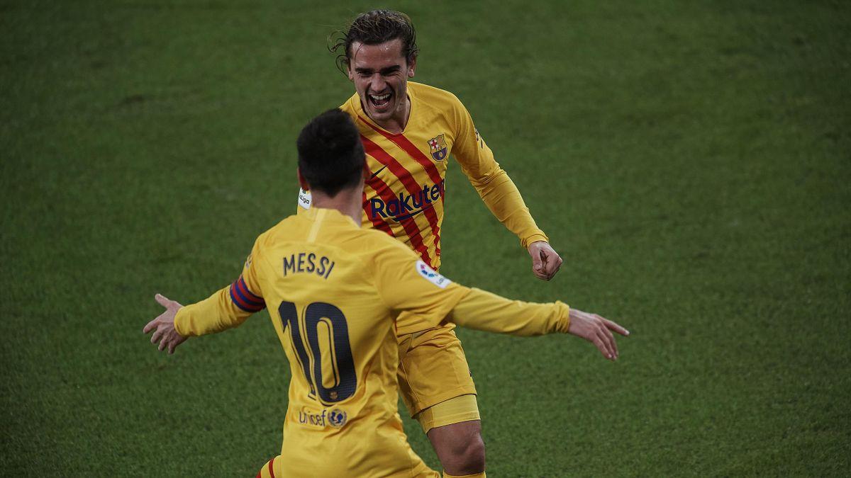 Griezmann en communion avec Messi (FC Barcelone)