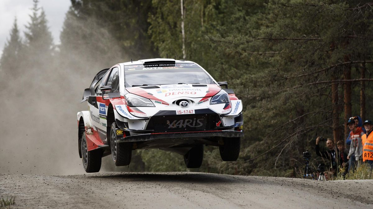 Ott Tanak of Estonia competes during the Neste Rally Finland in Jyvaskyla, central Finland, on August 4, 2019.