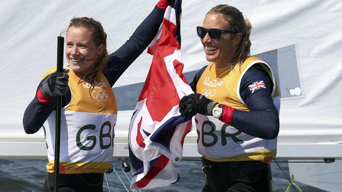 Hannah Mills (GBR) of Britain and Saskia Clark (GBR) of Britain celebrate winning gold medal