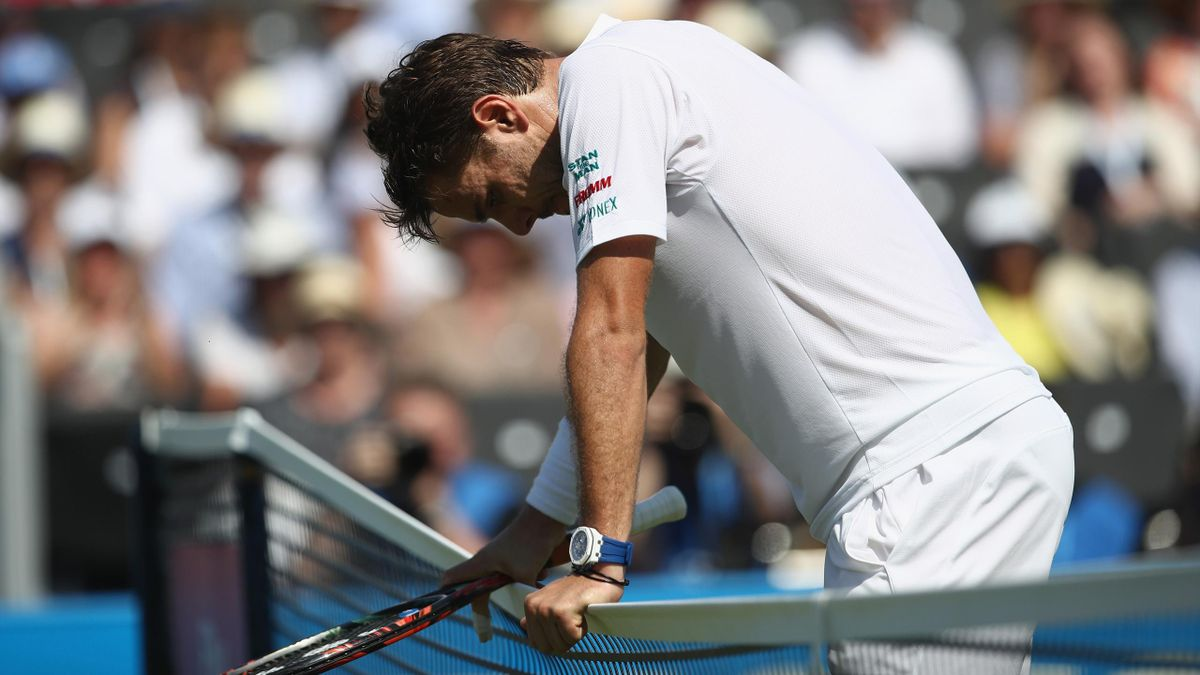 Stan Wawrinka of Switzerland looks dejected during mens singles first round match against Feliciano Lopez of Spain on day two of the 2017 Aegon Championships.