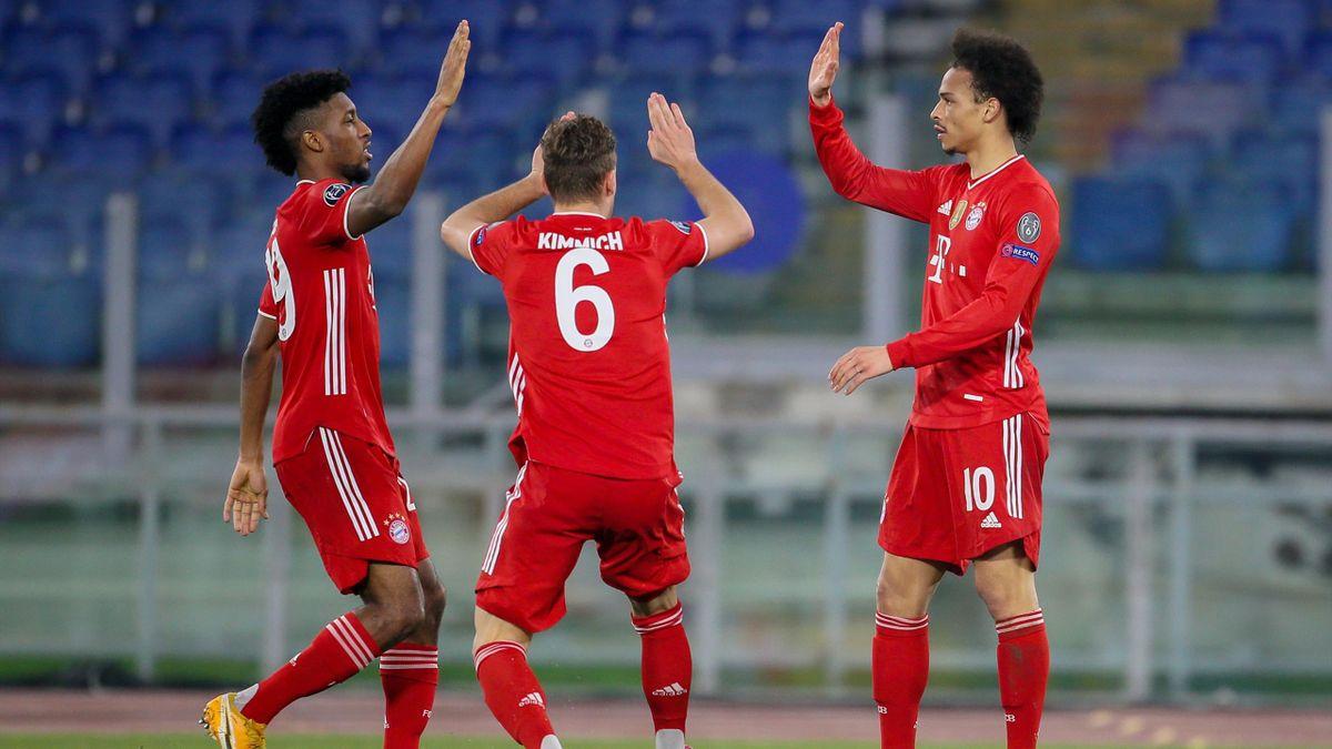 Kinglsey Coman, Joshua Kimmich und Leroy Sané (von links) - FC Bayern
