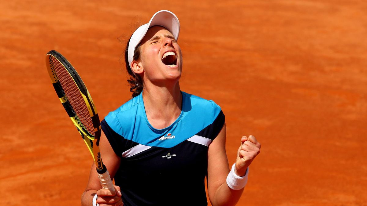 Johanna Konta of Great Britain celebrates match point against Kiki Bertens of the Netherlands in their semifinal match during day seven of the International BNL d'Italia at Foro Italico
