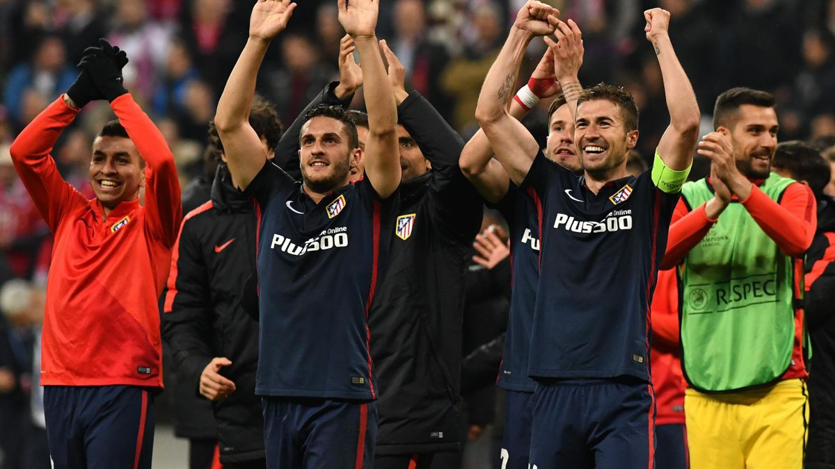 Atletico Madrid players celebrate qualifying for the final after the UEFA Champions League semi-final