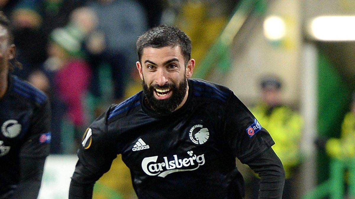 Michael Santos of FC Copenhagen celebrates after scoring his sides first goal during the UEFA Europa League round of 32 second leg match between Celtic FC and FC Kobenhavn at Celtic Park on February 27, 2020 in Glasgow, United Kingdom. (Photo by Mark Runn