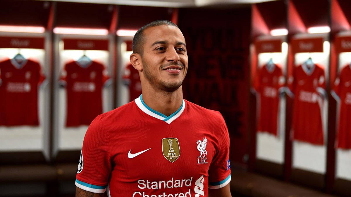 ) Thiago Alcantara new signing of Liverpool at Anfield on September 18, 2020 in Liverpool, England.