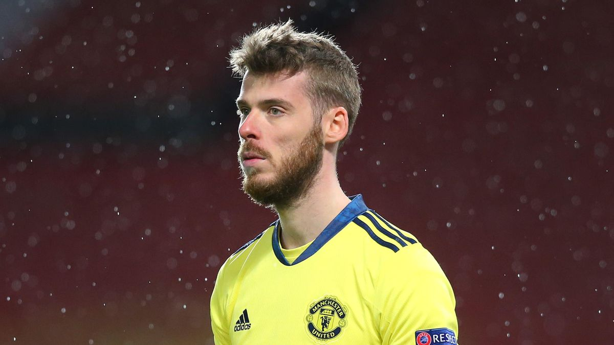 David de Gea of Manchester United looks on during the UEFA Europa League Semi-final First Leg match between Manchester United and AS Roma at Old Trafford on April 29, 2021 in Manchester, England.