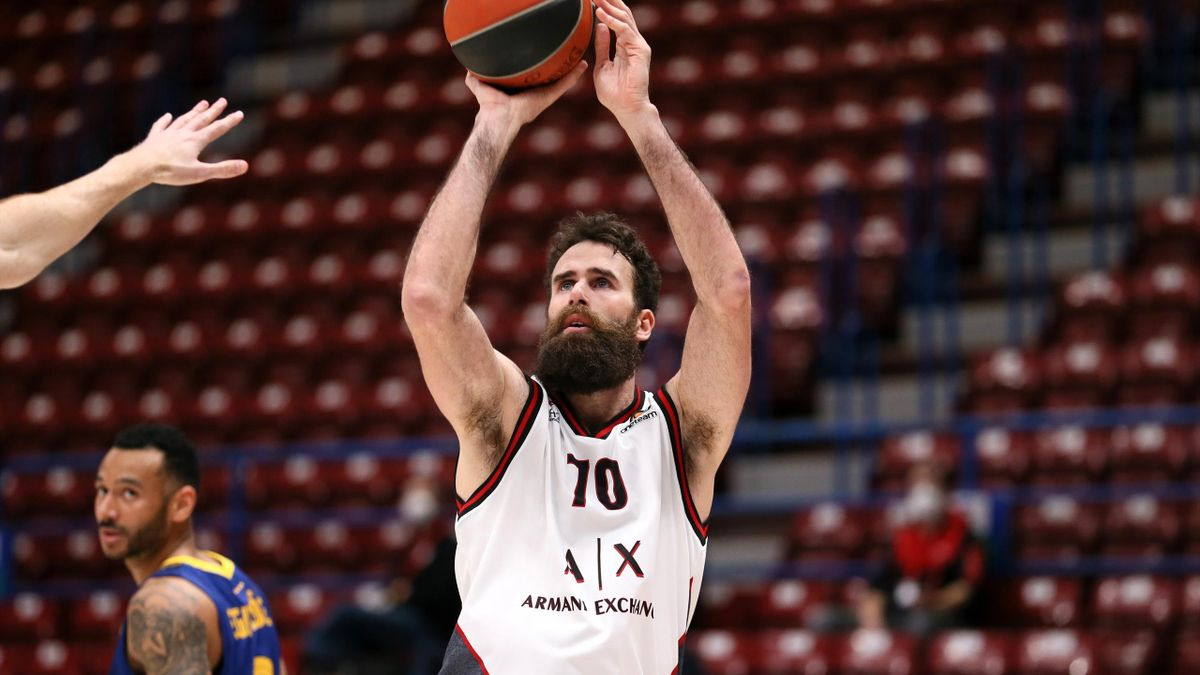 Luigi Datome, #70 of AX Armani Exchange Milan in action during the 2020/2021 Turkish Airlines EuroLeague match between AX Armani Exchange Milan and FC Barcelona at Mediolanum Forum on March 19, 2021 in Milan, Italy.