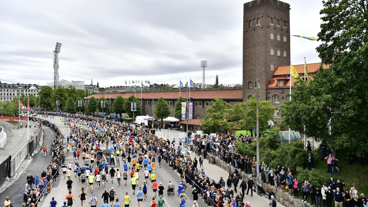 This picture dated June 1, 2019, shows an exterior of the Stockholm Olympic Stadium during the Stockholm Marathon event. - The International Olympic Committee (IOC) in Lausanne, Switzerland, will elect in a final vote on June 24, 2019 the host city for th