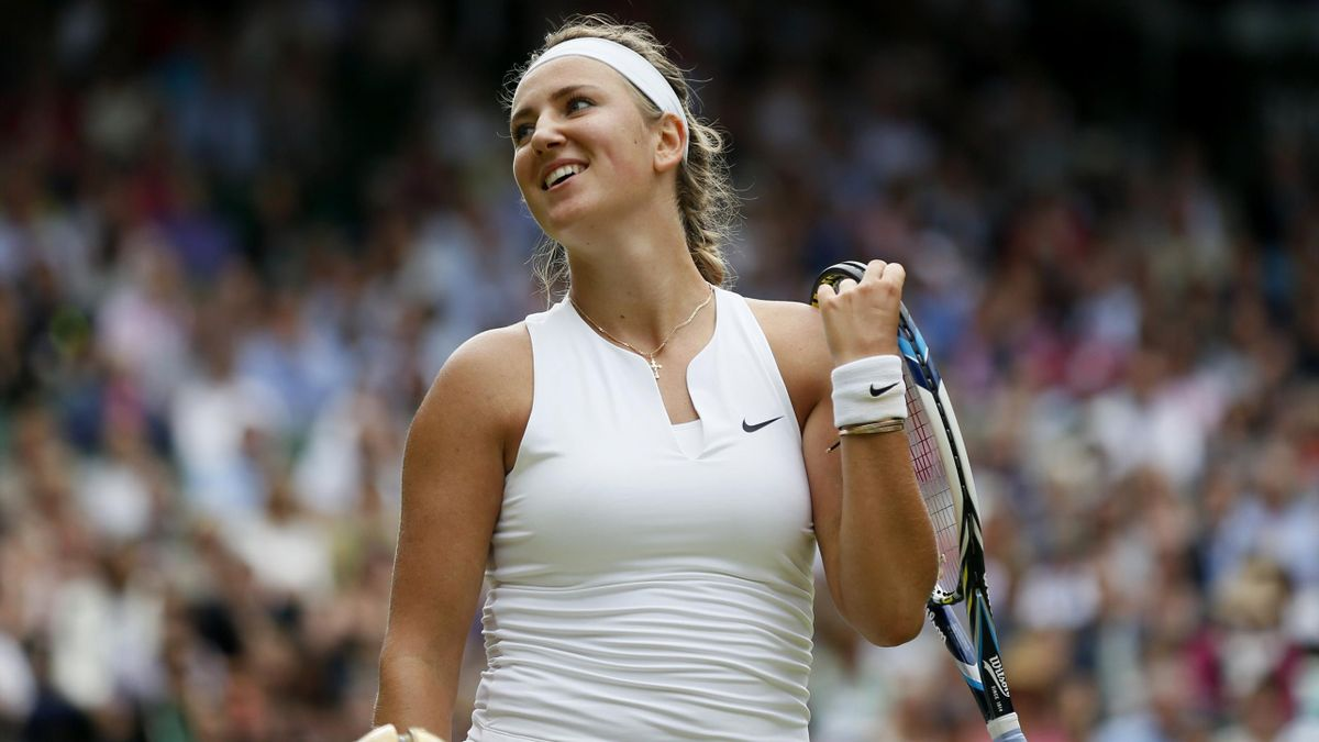 Victoria Azarenka of Belarus reacts during her match against Serena Williams of the U.S.A. at the Wimbledon Tennis Championships in London, July 7, 2015.