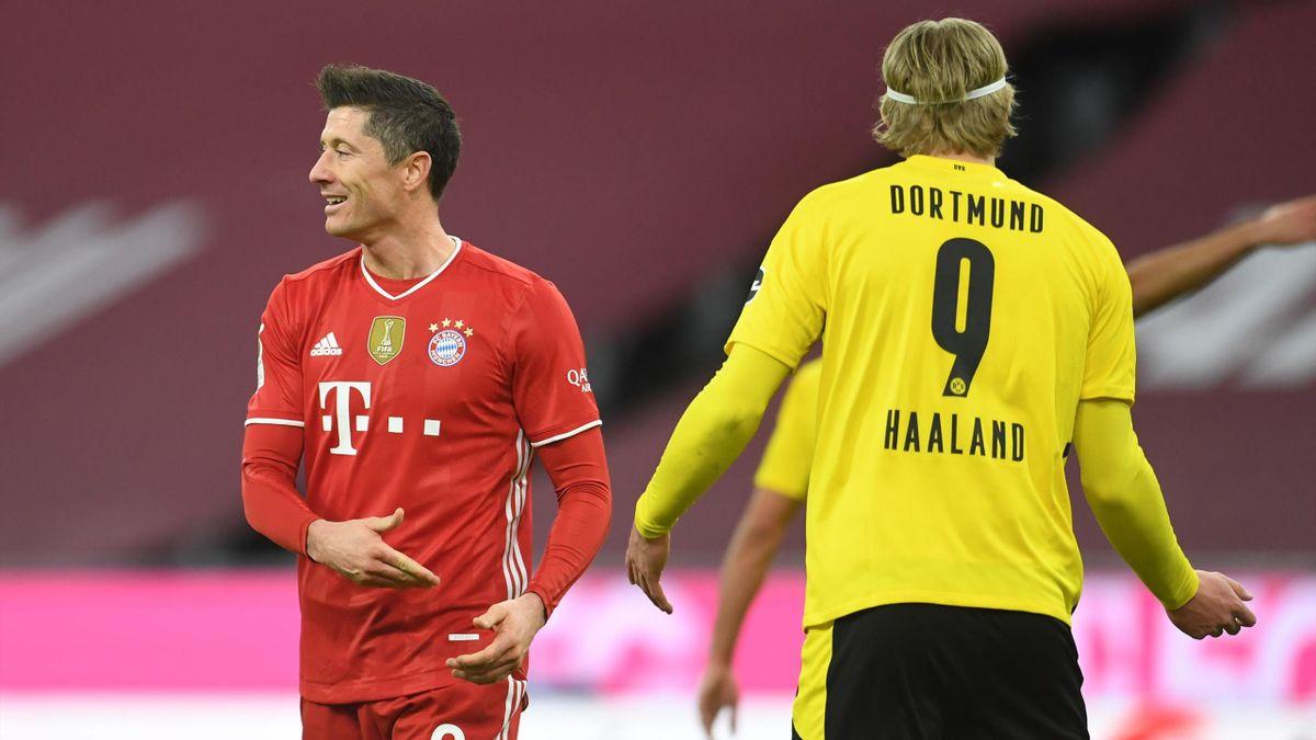 Robert Lewandowski (l.) mit Erling Haaland - FC Bayern München vs. Borussia Dortmund