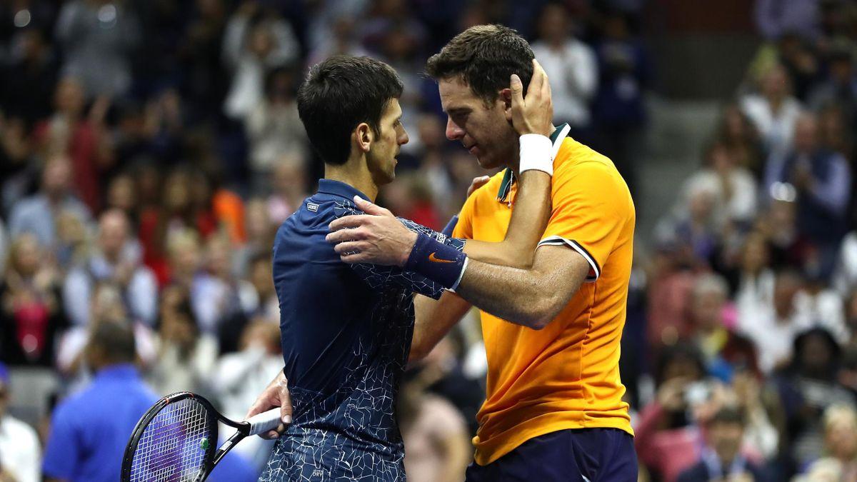 Novak Djokovic and Juan Martin Del Potro after the US Open final