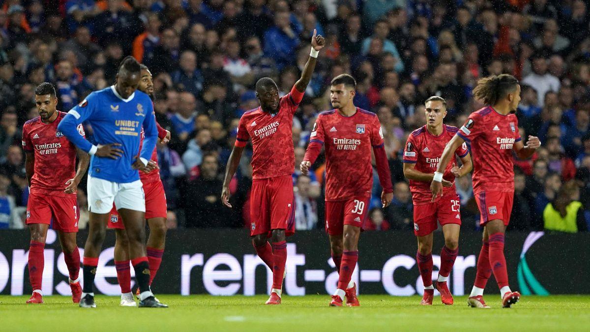 La joie des Lyonnais après le but de Karl Toko Ekambi lors de Rangers - Lyon, le 17 septembre 2021 en Ligue Europa