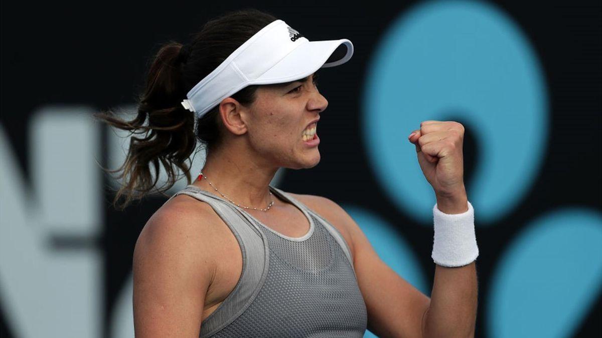 Garbiñe Muguruza celebrando con el puño apretado en el torneo WTA Hobart 2020