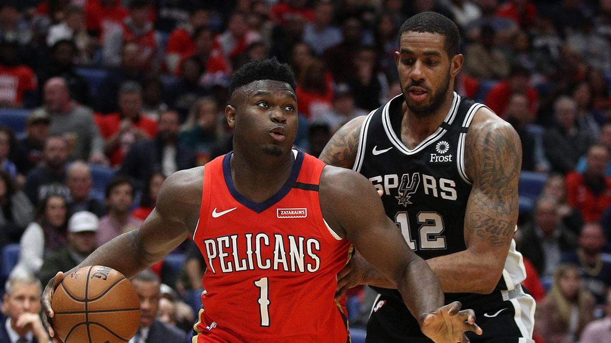 Zion Williamson (New Orleans Pelicans) et LaMarcus Aldridge (San Antonio Spurs) en NBA