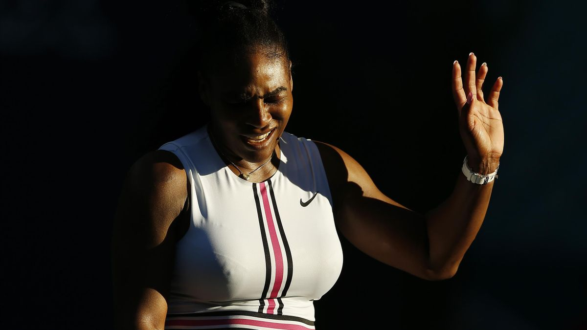 Serena Williams of the United States reacts against Rebecca Peterson of Sweden during Day 5 of the Miami Open Presented by Itau at Hard Rock Stadium on March 22, 2019 in Miami Gardens, Florida.