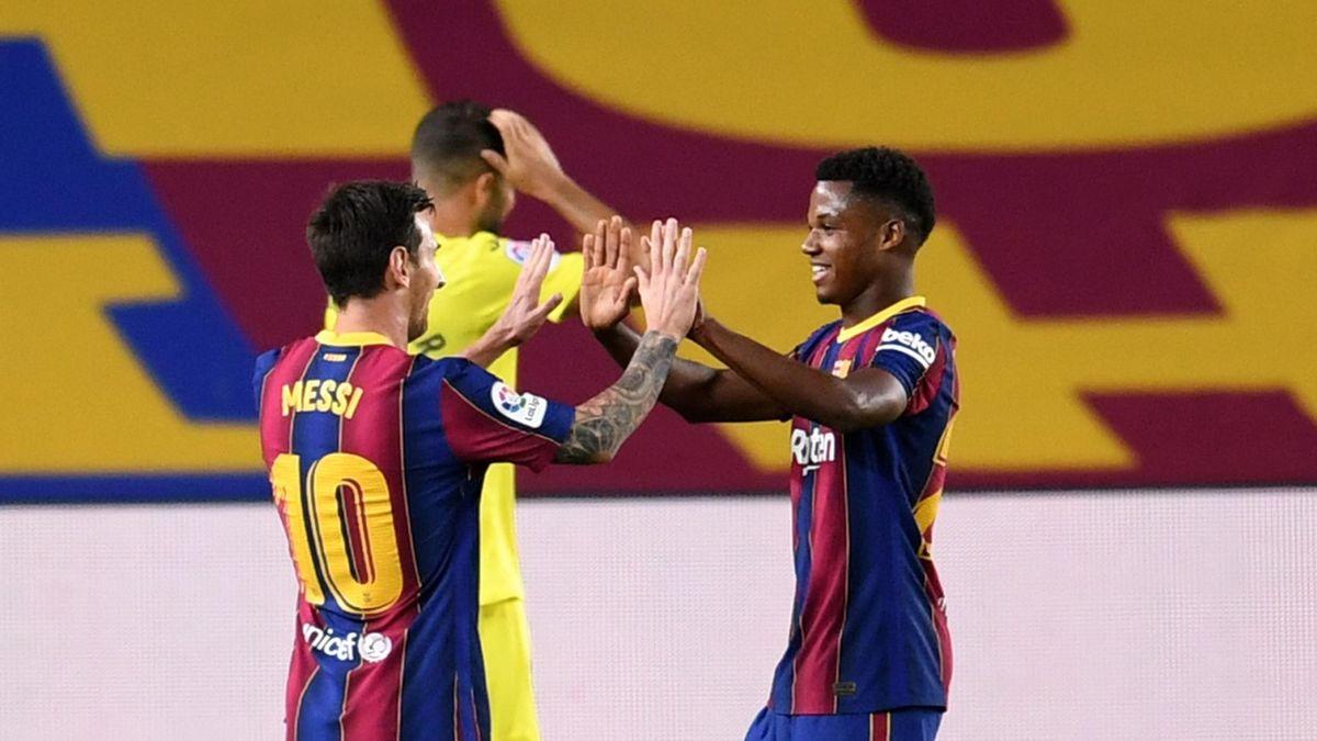 Lionel Messi and Ansu Fati, Barcelona v Villarreal