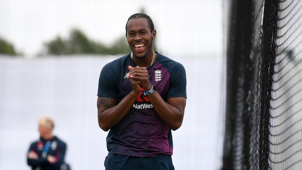 Jofra Archer of England reacts during a England Nets Session at Emirates Old Trafford on July 14, 2020 in Manchester, England.