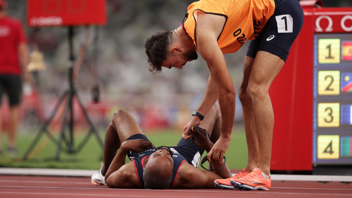 Trésor Gauthier Makunda et son guide Lucas Mathonat aux Jeux Paralympiques de Tokyo.