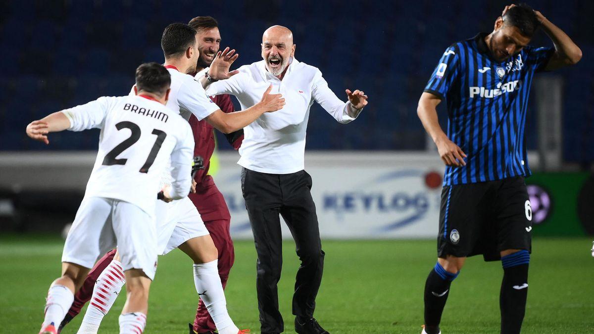 La gioia di Pioli dopo Atalanta-Milan