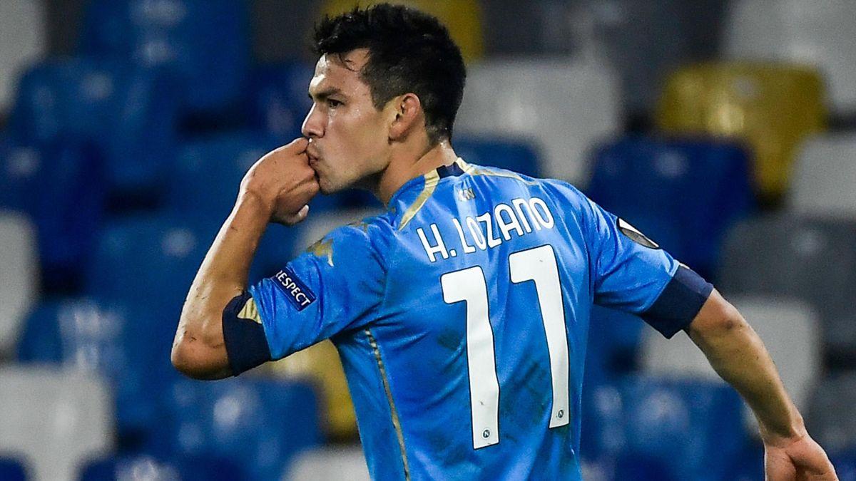 Hirving Lozano celebrates scoring for Napoli