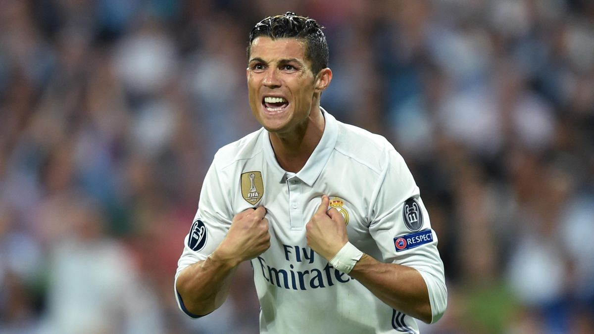 Real Madrid's Portuguese striker Cristiano Ronaldo gestures during the UEFA Champions League quarter-final second leg football match Real Madrid vs FC Bayern Munich at the Santiago Bernabeu stadium in Madrid in Madrid on April 18, 2017