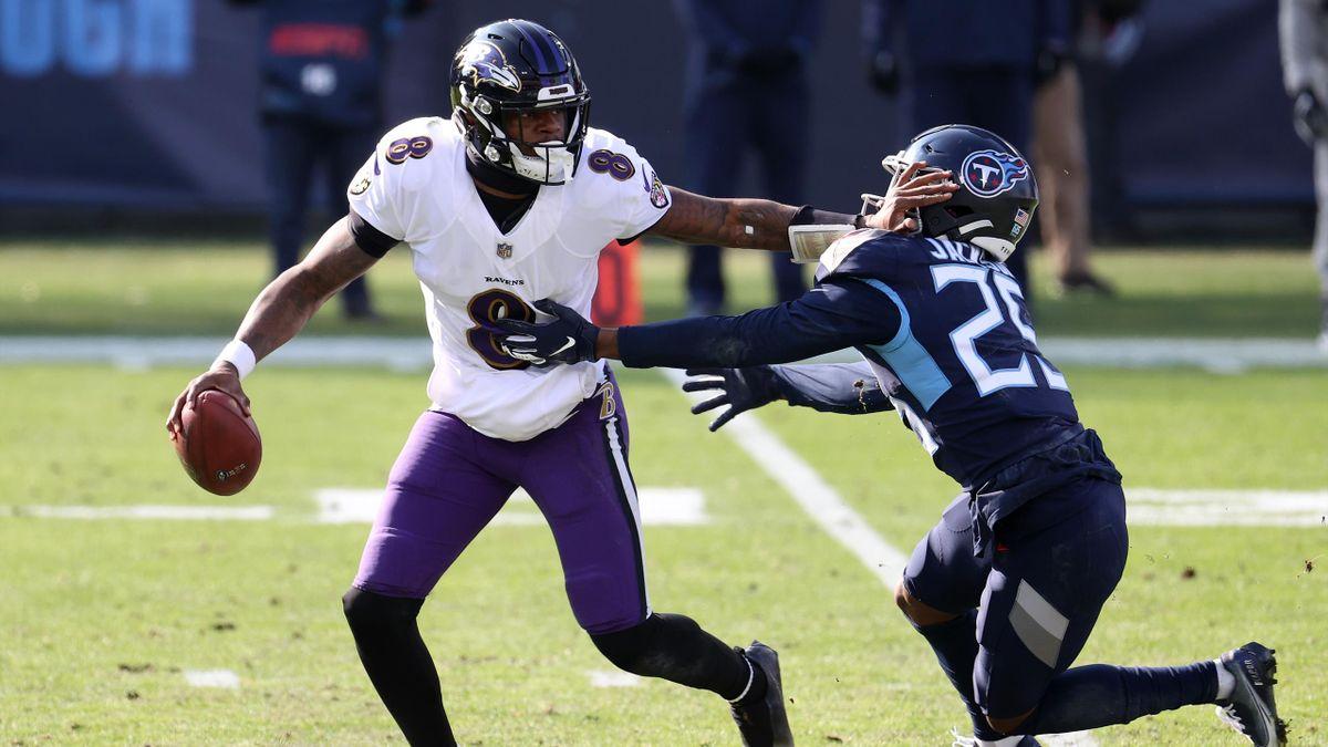 Lamar Jackson (links) und die Baltimore Ravens setzen sich gegen die Tennessee Titans durch