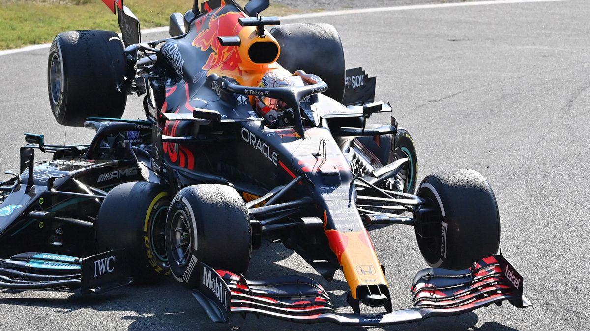 Verstappen and Hamilton collide
