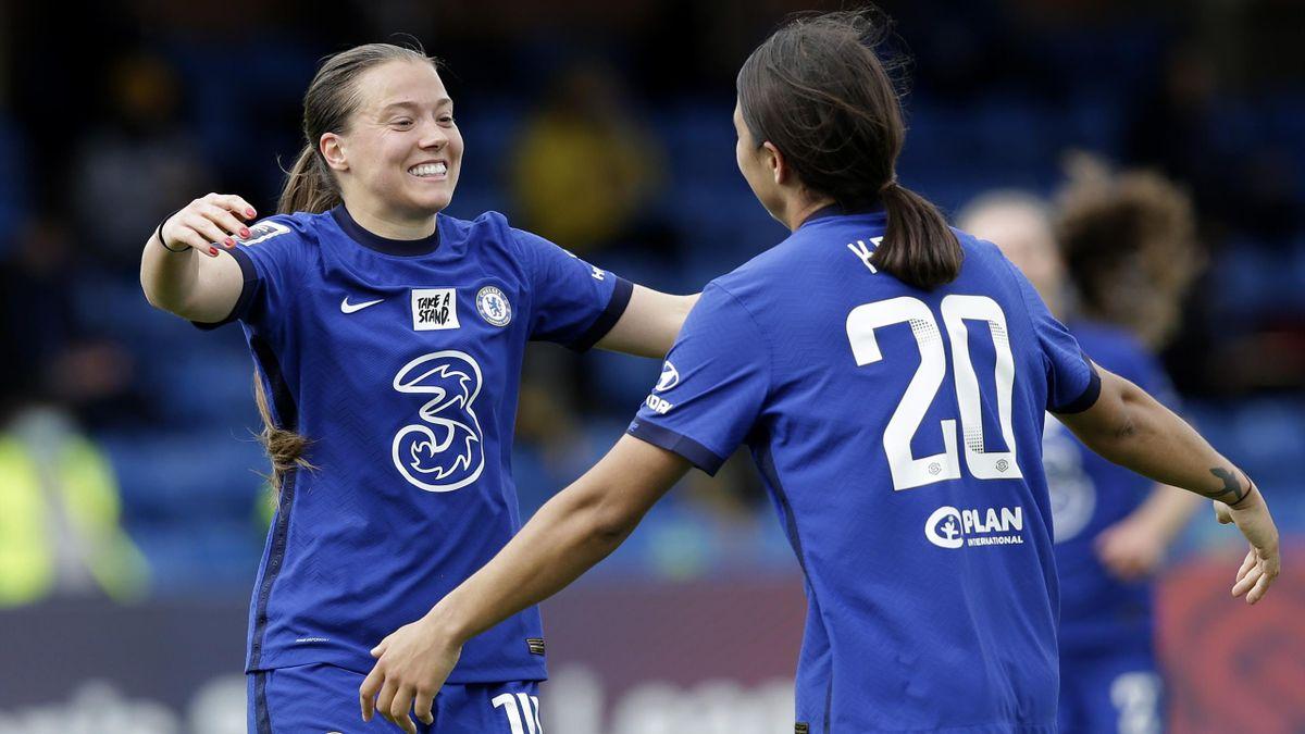 Fran Kirby of Chelsea celebrates with Sam Kerr, Chelsea women v Reading women, FA Women's Super League, Kingsmeadow on May 09, 2021