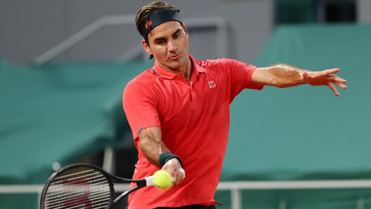 Roger Federer in Aktion bei den French Open in Paris