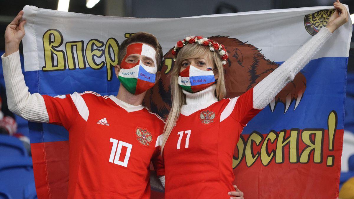Болельщики на матче сборных России и Венгрии в Лиге наций