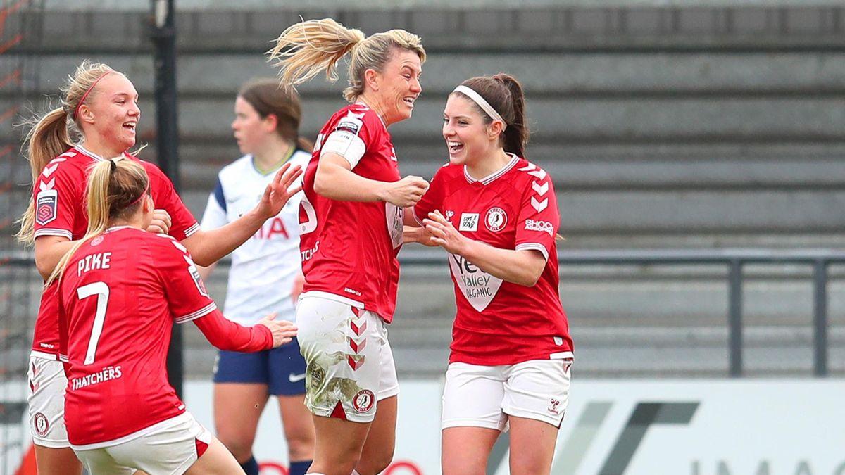 Gemma Evans celebrates scoring for Bristol City