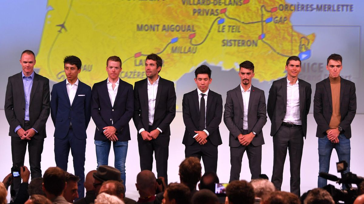 Chris Froome, Egan Bernal, Steven Kruijswijk, Thibaut Pinot, Caleb Ewan, Julian Alaphilippe, Warren Barguil and Romain Bardet during the 107th Tour de France 2020 Route Presentation