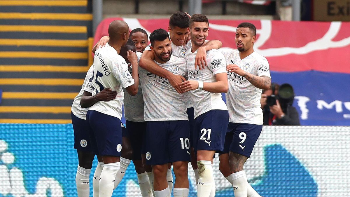 Sergio Aguero of Manchester City celebrates scoring his teams first goal during the Premier League match between Crystal Palace and Manchester City at Selhurst Park on May 01, 2021 in London, England