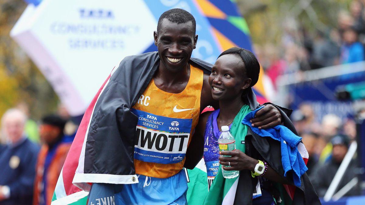 Stanley Biwott et Mary Keitani, vainqueurs du marathon de New York 2015