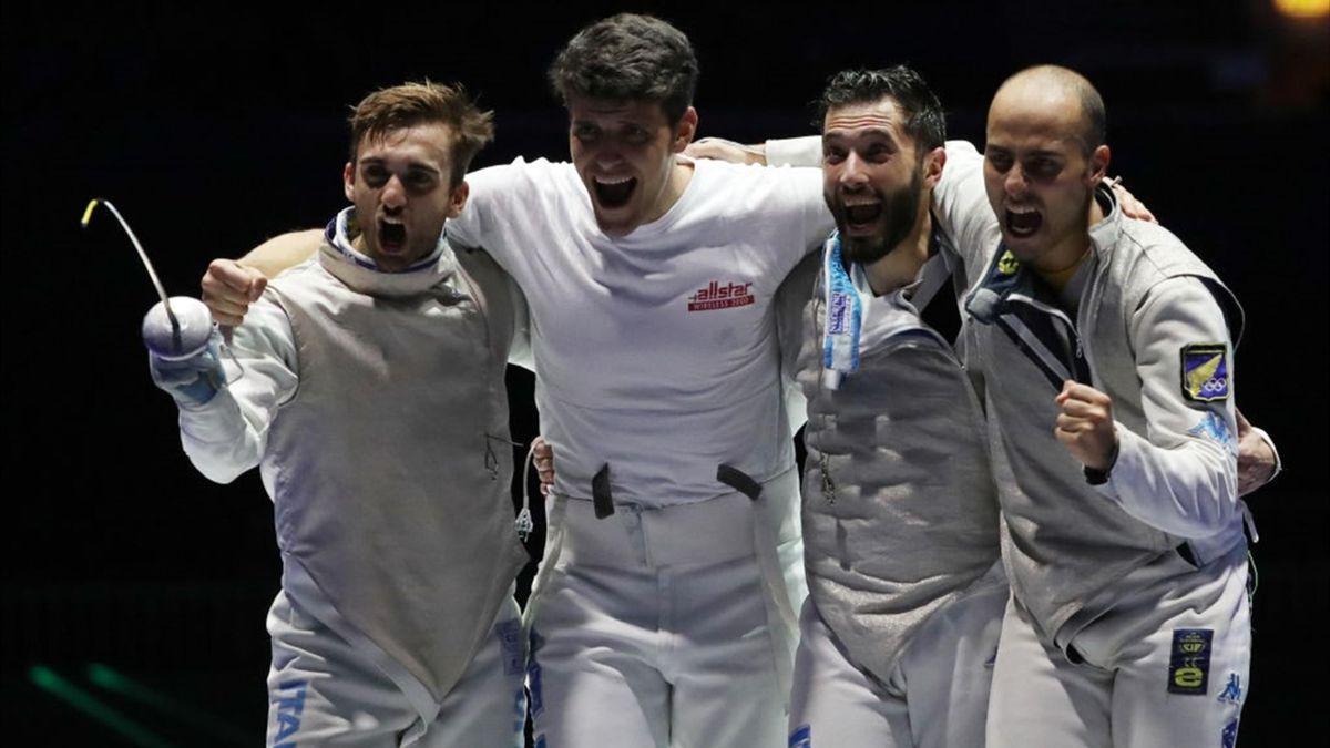 Garozzo, Foconi, Avola e Cassarà esultano per il bronzo ai Mondiali di Budapest 2019 nel fioretto maschile