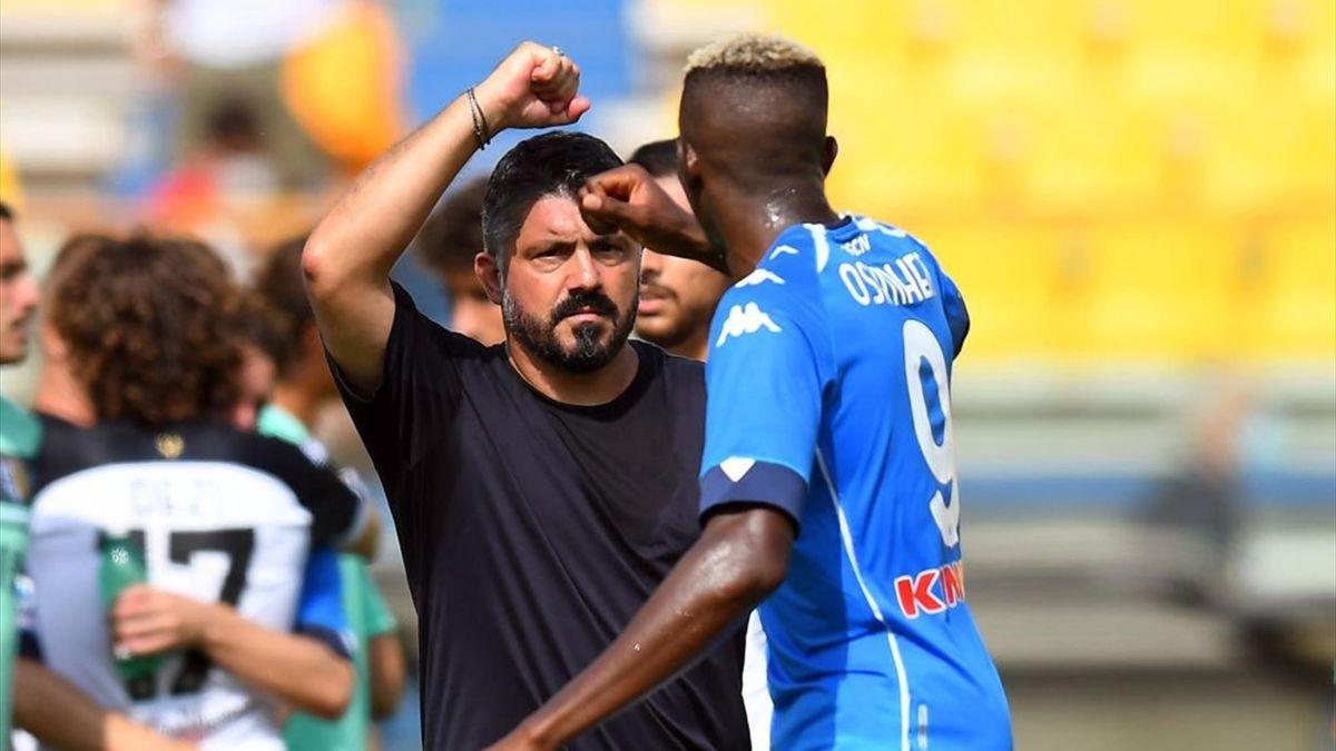 Gennaro Gattuso e Victor Osimhen - Parma-Napoli Serie A 2020-21