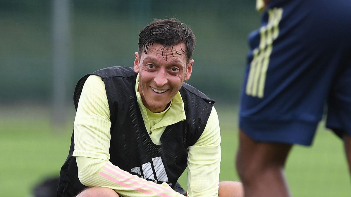 Mesut Ozil of Arsenal during a training session at London Colney