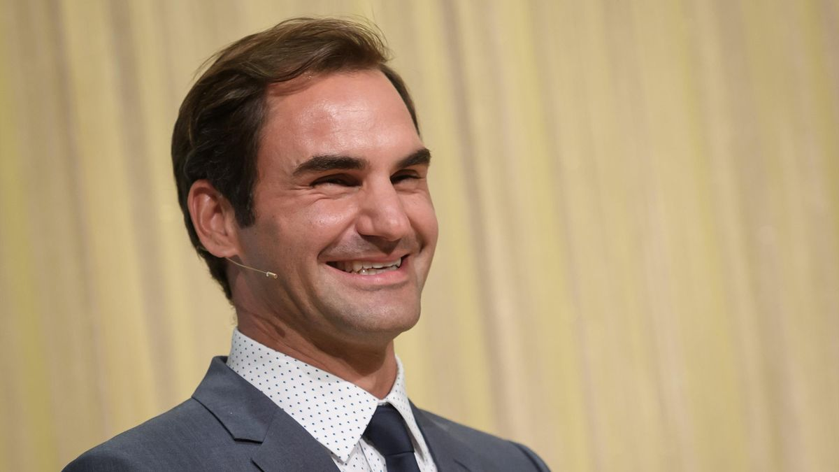 Swiss tennis champion Roger Federer laughs