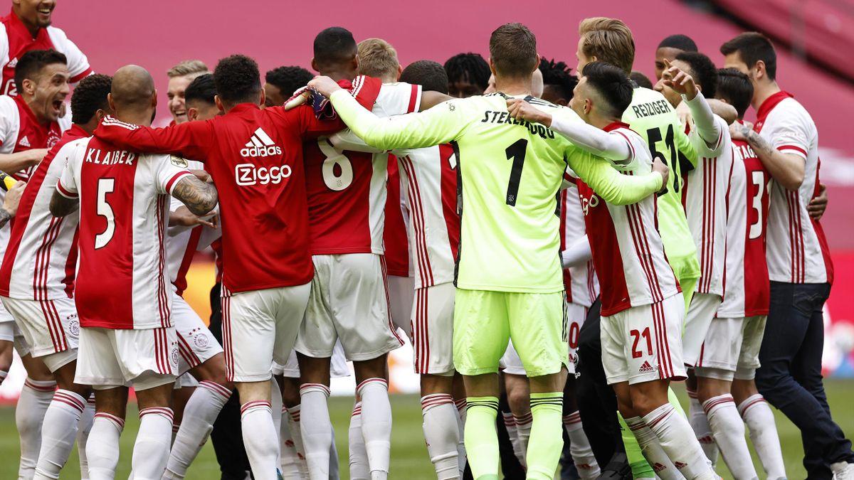 Ajax celebrate winning the Eredivisie title